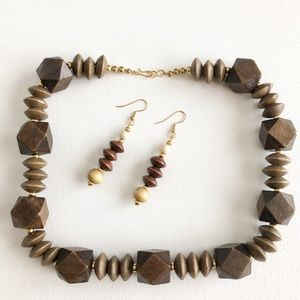 Jewelry - Boho Style Wooden Bead Necklace and Earrings Set